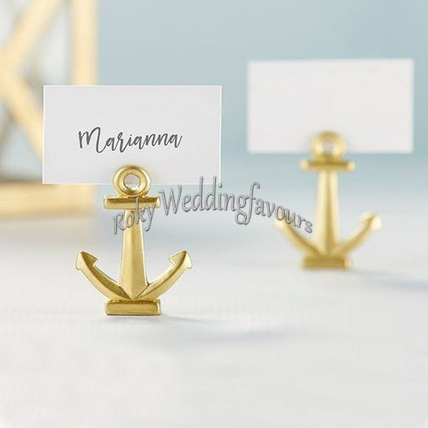 24PCS Gold Anchor Place Card Holder Wedding Favors Nautical Theme Party Favors Event Birthday Table Decoration Supplies