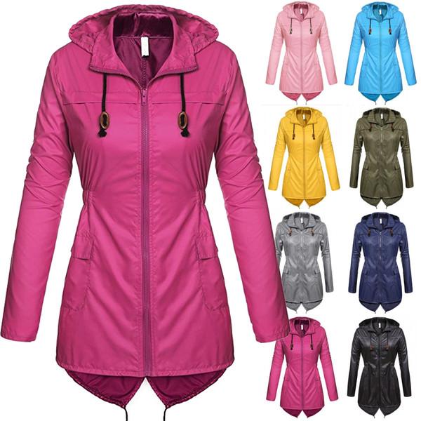 Women Raincoat Spring Autumn Hooded Long Sleeve Slim Fit Casual Waterproof Coat Jacket
