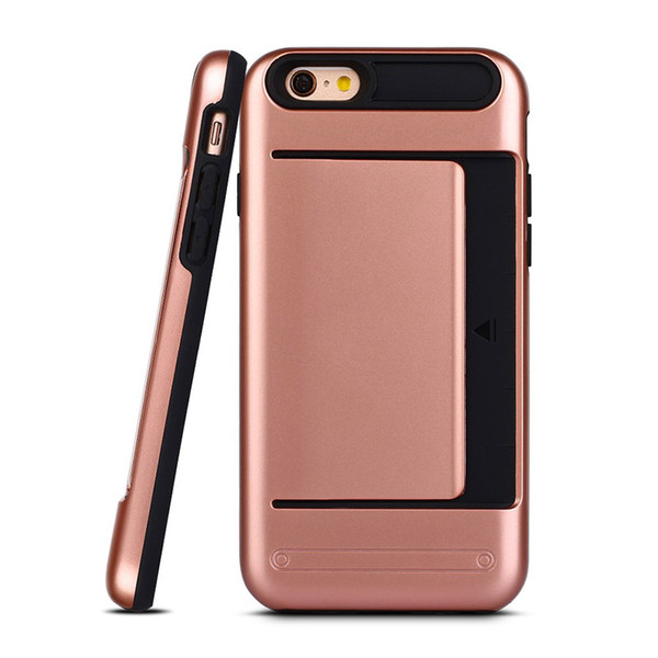 i6 Durable Rubber Hybrid Credit Card Slot For iPhone 6 6s Plus Phone Cases Armor Wallet Back Cover Shell Dual Layer Skin Gift