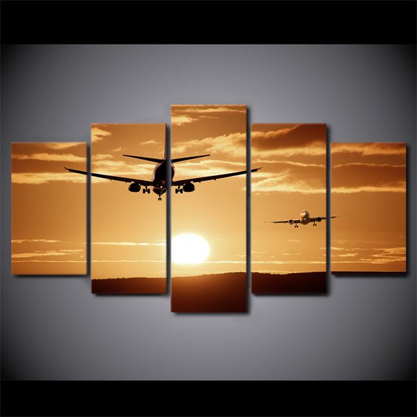 HD Printed 5 Piece Canvas Art Airplane Sunset Canvas Painting Wall Pictures for Living Room Home Decor Free Shipping CA01
