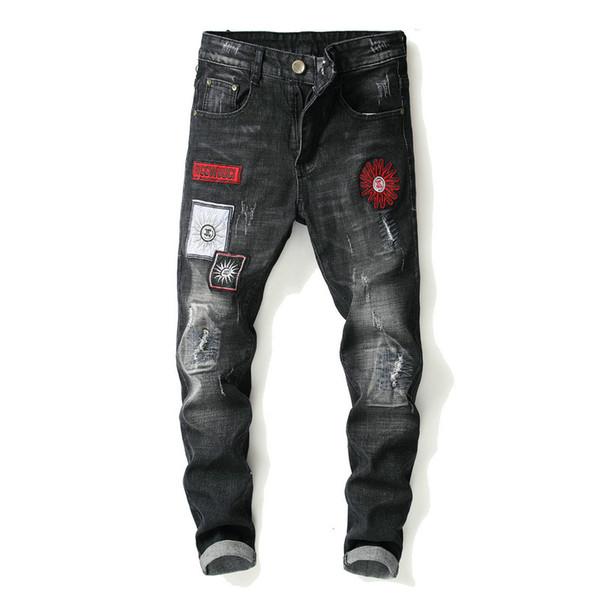 Siyah Denim Kot Erkekler Streç Skinny Jeans Adam Pamuk Ince Düz Rahat Jean Pantolon Erkek Kaliteli Patchwork Jean