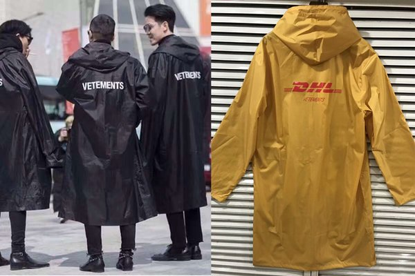 2018 Newest TOP hip hop kanye west fashion Vettements DHL letter 16ss oversize raincoat waterproof Long Hooded Windbreaker Male Streetwear