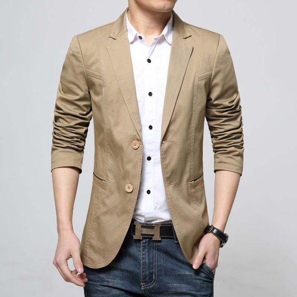 Plus Size Blazer Men Casual Suit Blazer Slim Fit Cotton Blazer Jacket Korean Style OUTWEAR Office Wedding Party Man Clothes