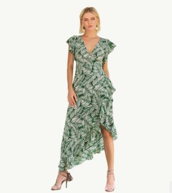 2018 Europa und die Vereinigten Staaten Sommer neue bedruckte Hülse V-Ausschnitt Feifei Lace-up-Kleid unregelmäßigen Urlaub weiblichen Kleid