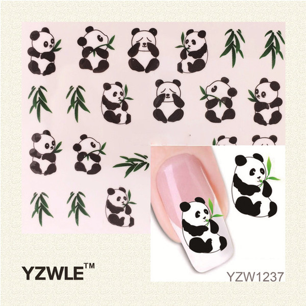 Wholesale- YZWLE 1 Sheet New Design 3D Water Transfer Printing Nail Art Sticker Decals Cute Panda DIY Nail Decoration Styling Tools