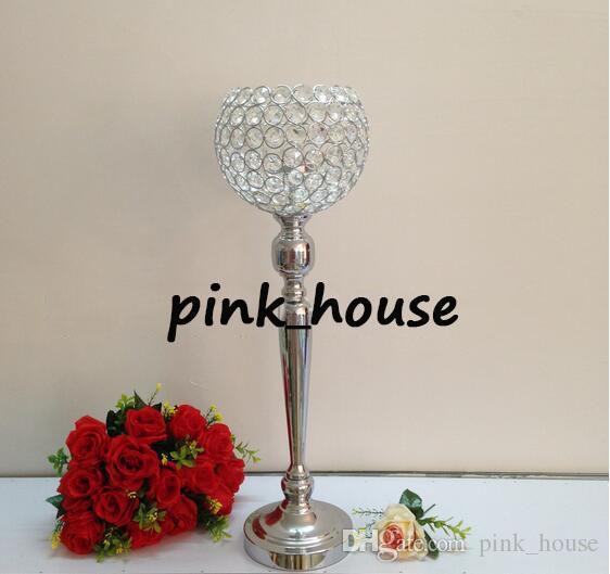 elegant new sliver color tall glass candle holder crystal candle holder candelabra for wedding centerpieces hotel decoration