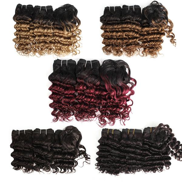 Cheap Hair bundles 3pcs/Set For Full Head Brazilian Deep Wave Ombre Color Short Bob Style Remy Human Hair Extensions virgin 180g/Set
