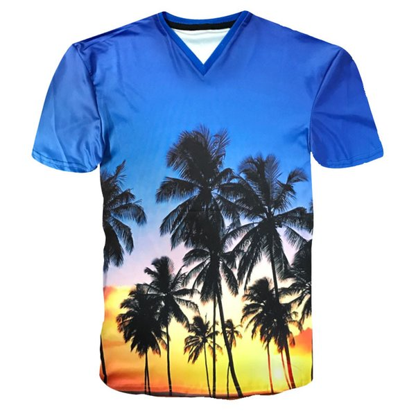 Hawaii Island Sunset Dusk Sky Print 3D Palm Tree T Shirts Male Fashion Personality T-shirt Summer Hip Hop Tops Tees Wholesale