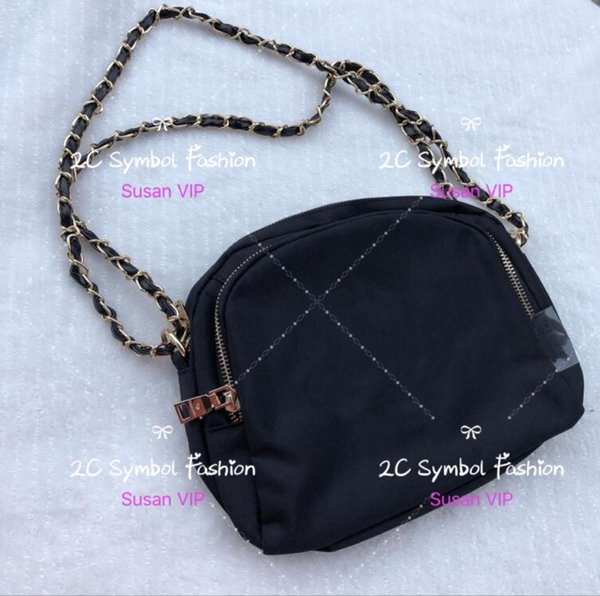 Fashion Icon Nylon chain bag famous marks quilted squuin logo makeup bag fashion shoulder bag with tag counter VIP gift