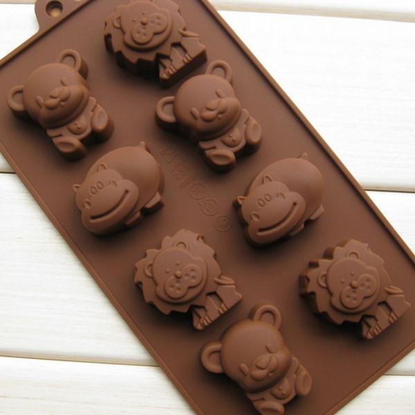 Compre Caliente 1 Unids Hipopótamo Oso De León Forma De Silicona Molde Jalea De Jabón De Chocolate Decoración De Pasteles Diy Utensilios De Cocina
