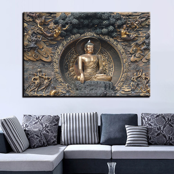 Living Room Art Decor.Canvas Pictures Home Wall Art Decor Pcs Buddha Statue Paintings Hd Prints Buddhism Art Poster For Living Room Framework Uk 2019 From Jonemark2013