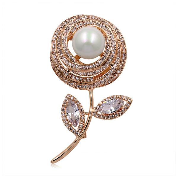 Compre Weimanjingdian Marca Rose Gold Color Romántica Flor Y Hojas ...