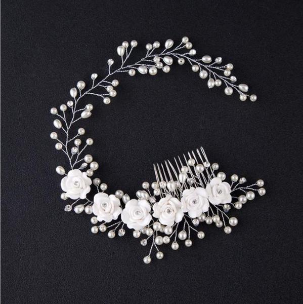 Versión coreana de novia, flor de perla hecha a mano, estudio fotográfico para el cabello y accesorios de boda para novia de maquillaje.