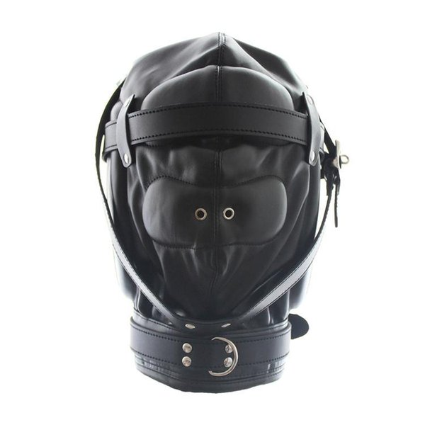 Kinky Fetish Sex Bondage Lockable Discipline Hood Suave acolchado Leather Sensory Deprivation Máscara con Snap On Dildo y Blindfold