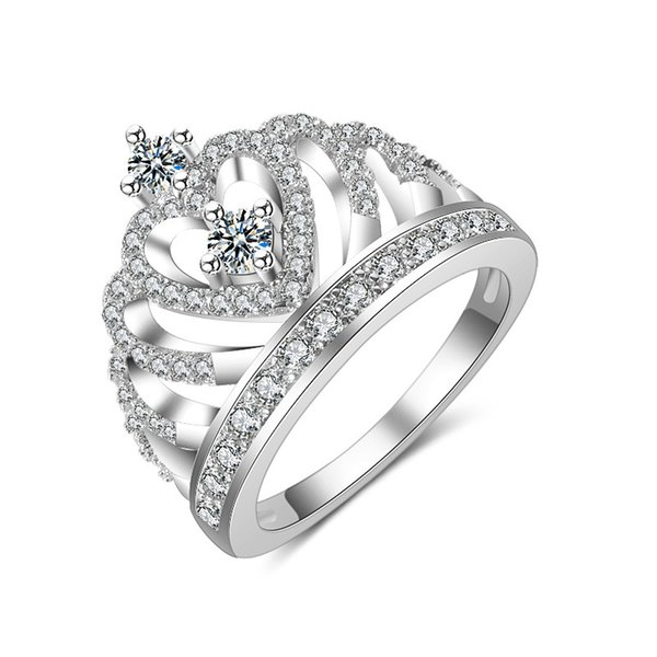 Europe and America style cross-border exclusive source jewelry pop fashion European and American big rose gold crown zircon ring