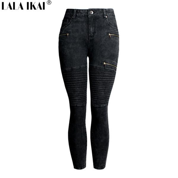 LALA IKAI Cotton Motorcycle Jeans Females Black Zipper Slim Denim Trousers Ladies Plus Size 2XL 3XL Skinny Pants Girl KWA0474-45