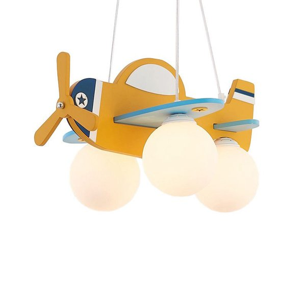 OOVOV Yellow Cartoon Airplane Baby Room Pendant Lamps Creative Children's Room Pendant Light Boy Bedroom Pendant Lights