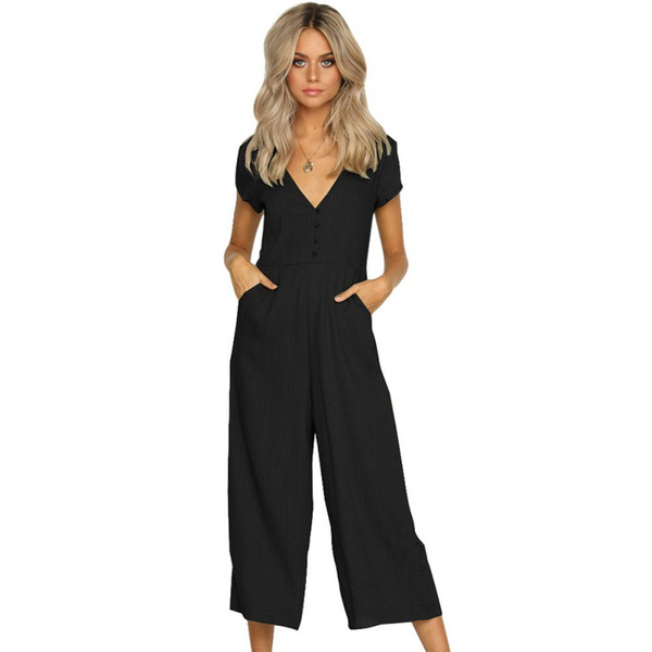 b71b43b9ea0 Women s Button Jumpsuits Casual Solid Color Deep V Neck Short Sleeve Wide  Leg Jumpsuit With Pocket in 2018 New Arrival