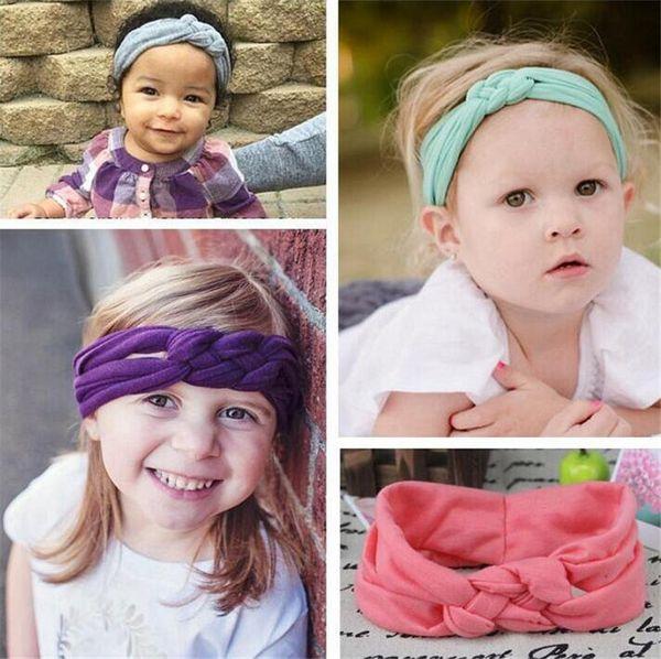 Ragazze Crochet Croce Fasce 11 Colore Intrecciato Testa Avvolgere Nodo di Sicurezza Elastico Hairband Bambino Infantile Accessori Per Bambini Boutique B11