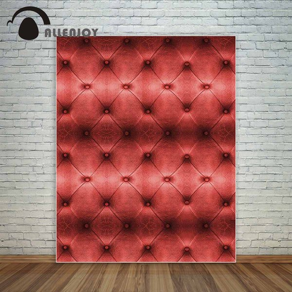 Großhandel Vinyl Foto Hintergrund Luxus rot Ledersofa Textur klassischen Knopf Bett Bord Hintergrund photobooth neue Ankunft Design
