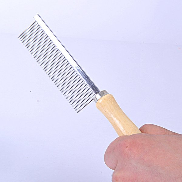 Pet Rake Comb Pet Dog Cat Hair Grooming Trimmer Rake Comb Dog Cat Stainless Steel Pins Wooden Handle Dog Cleaning Brush QW7418