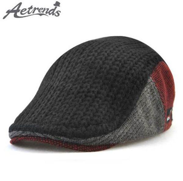 [AETRENDS] Winter Men's Knitting Beret Outdoor Visors Hats for Men Berets Cap Z-6042