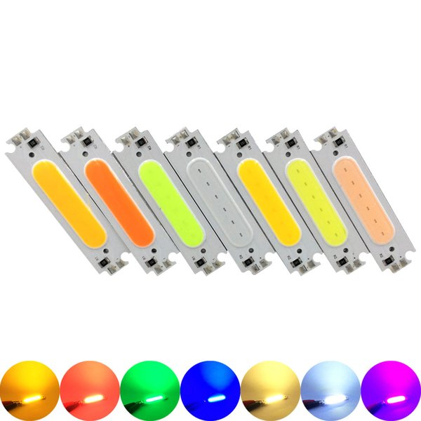 100pcs 60*15mm COB LED Light Module Chip White Yellow Orange Green Blue Red Purple Pink LED Bulb 12V 2W Lamp for Car Lighting