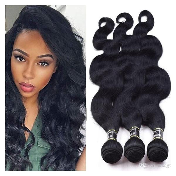 Fasci di capelli umani vergini brasiliani dell'onda del corpo 3Pcs Jet Black 1 # colore dell'onda del corpo dei capelli tesse non trattate estensioni dei capelli a buon mercato