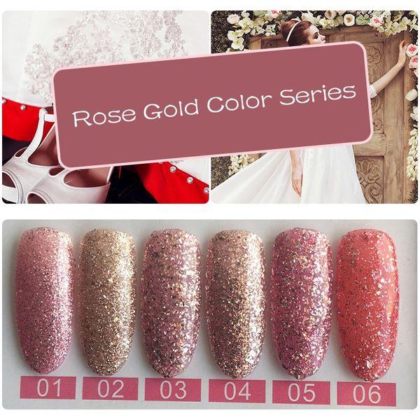 YIFEI Rose Gold Diamond Glitter Nail Gel Polish LED UV 10ML 6Colors for Soak-off UV Gel Nail Polish DIY Art Decorations