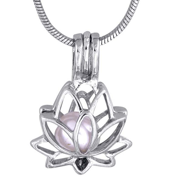 5 Pcs/lot Lotus shape Pendant Small Charm plated Silver Gift Love Wishing oyster Pearl Lotus Cage P47