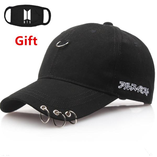 Máscara como Presente Hip Hop Rapper Bboy DJ BTS Kpop boné de beisebol das mulheres dos homens Locker dancer cap chapéu de sol com três anéis
