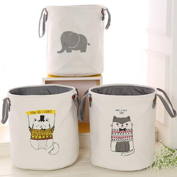 45*35CM Folding Storage Basket Cartoon Thicken Storage Box For Toys Clothing Socks Organizer Bin Laundry Round Bucket 3