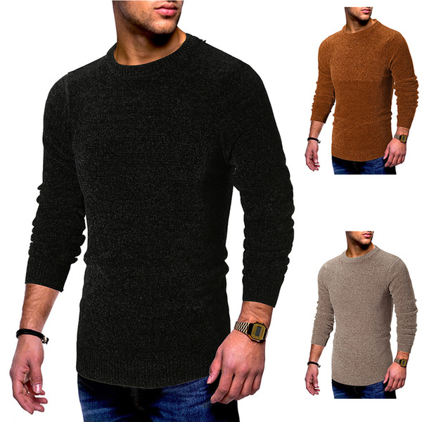 Mens Sweaters 2018 Winter Warm Pullover Long Sleeve Cotton Jersey Casual Solid Color Knitted Men Clothes Black