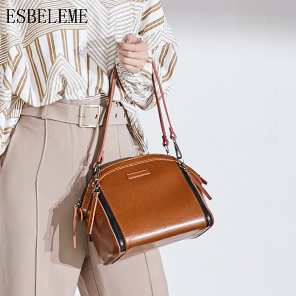 2018 New Genuine Leather Women Shell Handbags for Female Cow Leather Brown Red Single Shoulder Bags Ladies Fashion Bag YG221