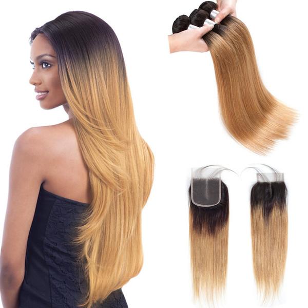 Ön renkli Ham Hint Saç Kapatma ile 3 Demetleri 1b 27 Ombre Sarışın Düz İnsan Saç Kapatma 100% İnsan Saç ile Demetleri Örgüleri