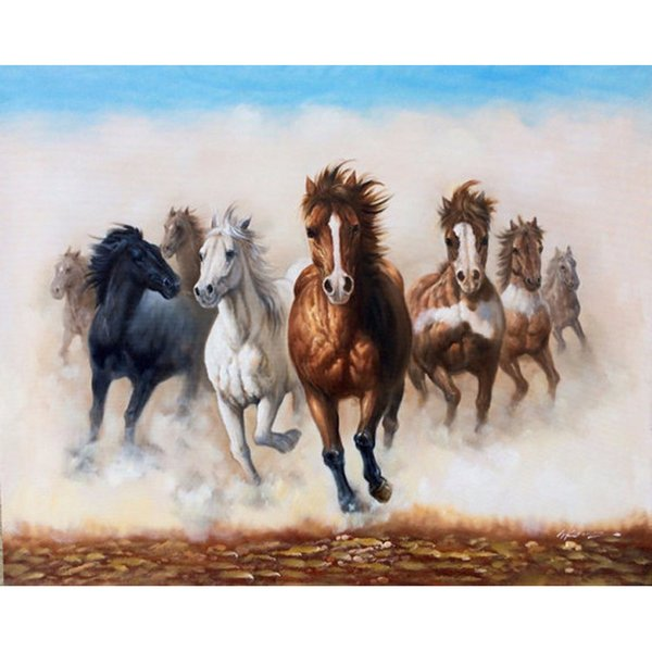 New China Artist Pure Hand-painted Wall Decorative Oil Painting Eight Horses Pictures Painting For Living Room
