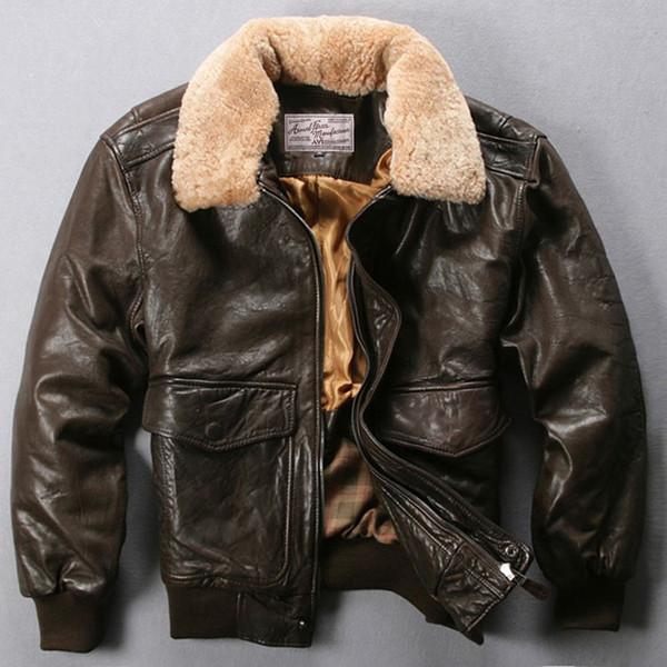 Avirex flight jacket fur collar genuine leather jacket men black brown heep kin coat winter bomber male