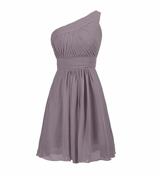 Cheap One Shoulder Gray Chiffon Short Bridesmaid Dress Above Length Wedding Prom Dress Plus Size Cocktail Party Gowns A Line Cheap