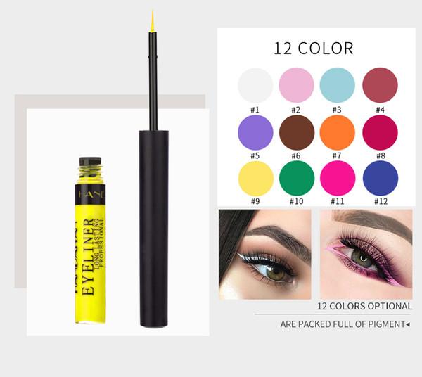 DHL-freier Handaiyan 12 Farben / Set flüssiger matter Eyeliner in der opp Tasche stellen moderne Augen her und dauern den ganzen Tag mit Geschenk