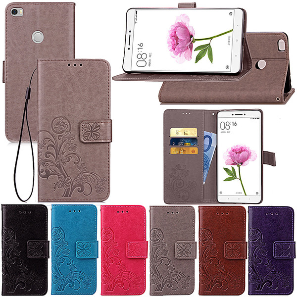 For Xiaomi Min Max Lucky Four Leaf PU Leather Case Cover Stand with Wallet Card Holder
