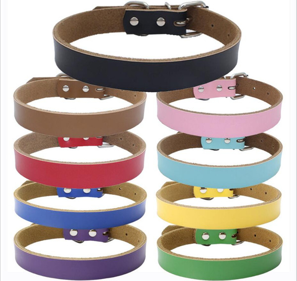 9 Colors 4 Sizes High Grade Hot Pure Cowhide Pet Collar Real Leather Thickening Dog Chain Traction Rope Dog Accessories BBA313