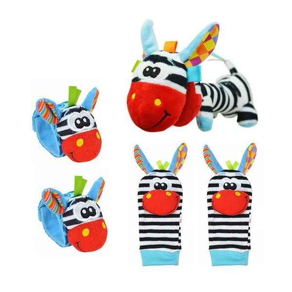 5PCS/LOT Cartoon Baby Socks & Hand Wrist Bells & Plush Hand Shake Bell Christmas Cotton Boy Girl Infant Rattles Sock Toys