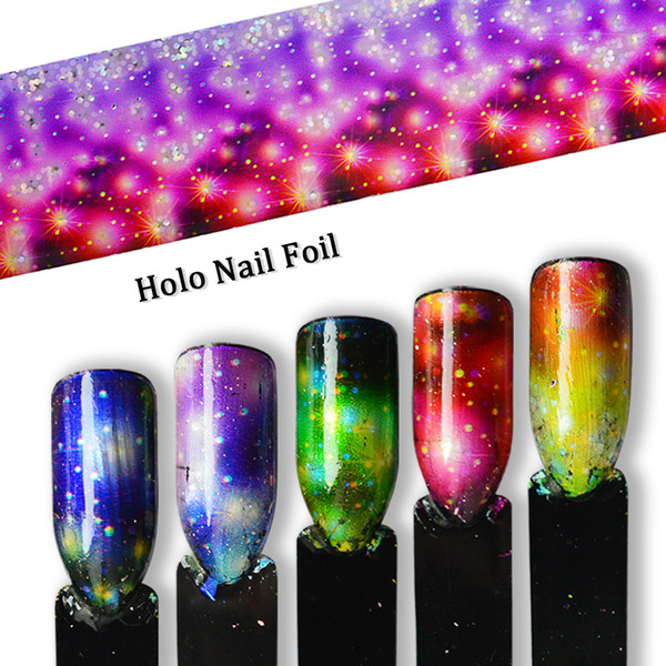 Gradient Étoile Ciel Nail Feuille Transfert Arc-En-Ciel Holographique Charme Nail Art Décoration Wrap Autocollant Papier Set Fleurs Astuce SA448