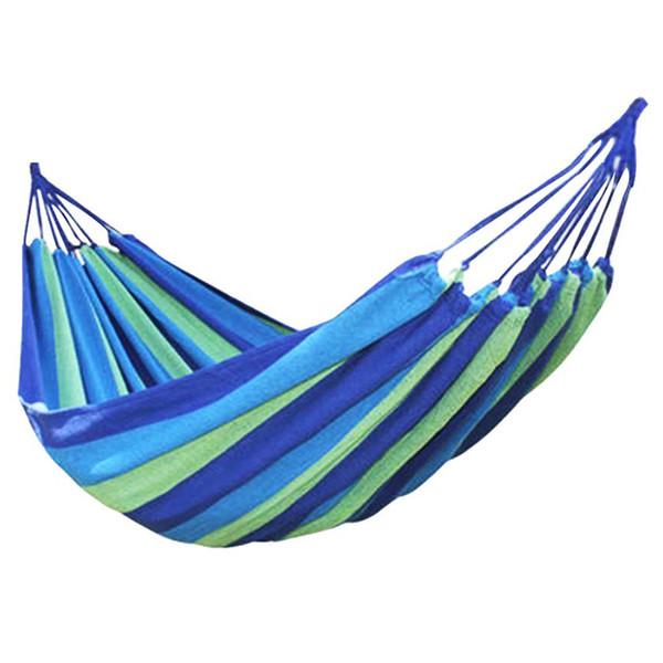 Canvas Single Hammock Outdoor Sleeping Gear For Hiking Backpacking ,Blue 190x80cm