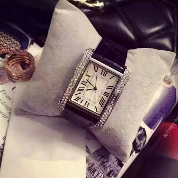 2019 New Fashion dress Diamond Wristwatch Brand Genuine leather clock Quartz Watches Women Clock mens watches for man square dial face
