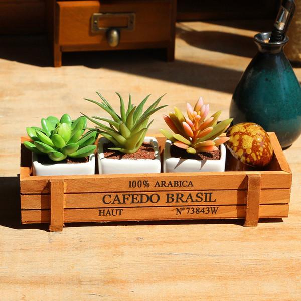 Mode Bois Jardin Fleur Plantes Pot Crate Succulent Rectangle Usine De Stockage De Bureau Boîte HG99