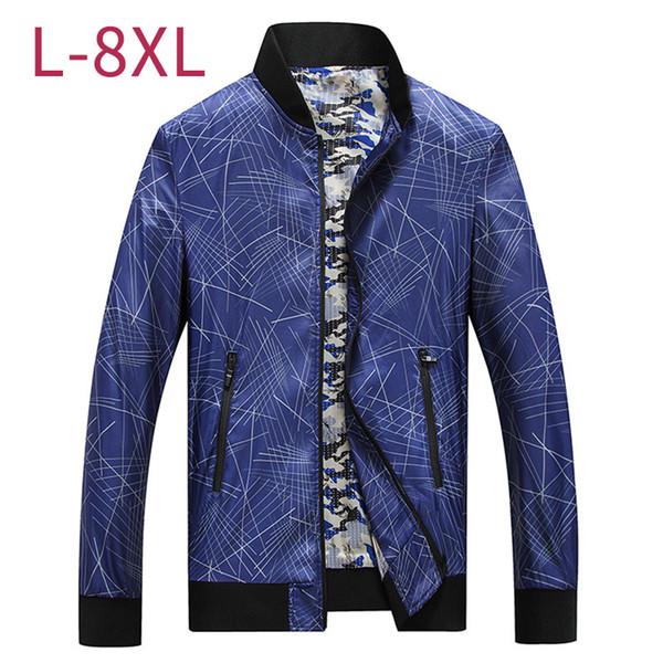 Большой размер мужчины повседневная мешковатая тонкая куртка весна осень мужской синий хаки ветровка верхняя одежда бомбер университетское пальто 6XL 7XL 8XL CF265