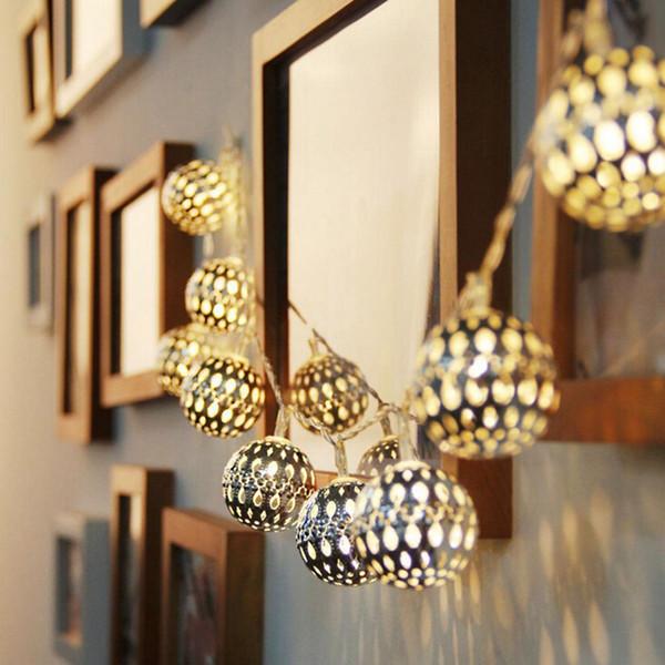 Super bright Warm white 10 Balls/Set Moroccan LED Solar String lights LED Fairy Lights Outdoor Christmas Decoration LED Lamp Solar Powered