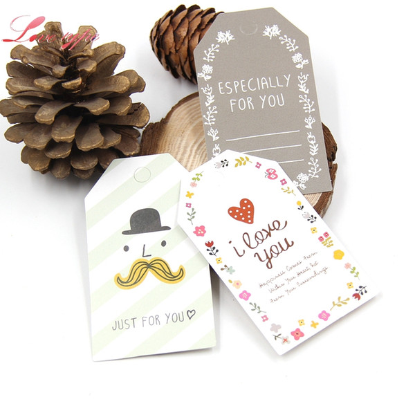 Event Favors New 50PCS/Lot Paper Tags With String DIY Craft Label Luggage Party Favor Wedding Party Note Hang Tag Gift