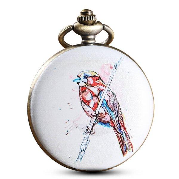 Painting Drawing Bird Pocket Watch Chains Vintage Personalised Quartz Pocket Watches Steampunk Men Women Gifts Reloj De Bolsillo